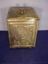 VINTAGE/Antico Art Nouveau in ottone BOX per tè Caddy TIN Foderato Storage Box