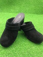 Women's Sz 7 US Suede Crocs Clogs Mules Black Excellent 9/10 Cond. (203415 B12)