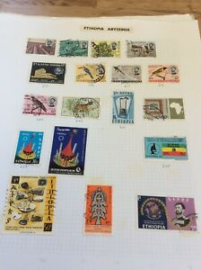 Album page of 18 stamps from Ethiopia  lightly hinged sheet3