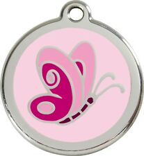 BUTTERFLY PINK -Red Dingo Dog Tag- Free Engraving & Delivery