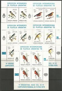 STAMPS-ARGENTINA. 1978. Philatelic Exhibition (Birds) Sheets. SG: 1591/95. MNH