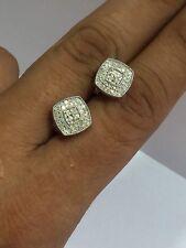 REAL! 14k White Gold Round Diamond Halo Stud 10.7mm Unisex Earrings 1.0 CTW