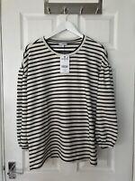 Brand New Next Women's Black/White Striped 3/4 Sleeve Top Size 18