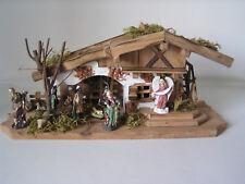 Komplett-Set Krippe incl 11 Figuren, Weihnachtskrippe, Krippenfiguren, Holzhaus