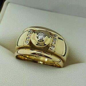 9ct Yellow Gold Brilliant Cut Diamond Set 11mm Ring, Finger Size K 1/2