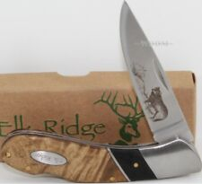 Elk Ridge Maple Burl Wood Wolf Wildlife Scene Lockback Hunting Pocket Knife