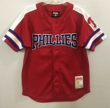 Youth Stitches MLB Philadelphia Phillies Howard Red Short Sleeve Jersey #6 Large