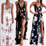 Women Boho Floral Long Maxi Dress Sleeveless Evening Party Summer Beach Sundress