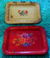 Two Shabby Vintage Small Mini Toleware TRAYS Champagne/Gold & Red w/ Roses, Chic