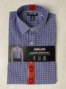 Kirkland Men's Button Down Dress Shirt Sportshirt MEDIUM 15-15.5 (34/35) BLUE