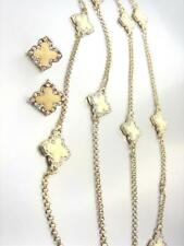 Clover Clovers Long Necklace Earrings Set 18kt Gold Plated Creme Lacquer Enamel
