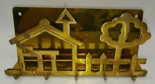 Vintage Brass Key Holder Hooks Letter Holder Combo Boho Retro Kitschy Decor CUTE
