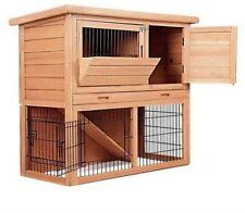 Rabbit Hutch Chicken Coop Cage Guinea Pig Ferret House w/ 2 Storeys Run