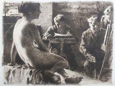 """Eduard Stiefel Original 1903 Etching """"Im Atelier"""""""
