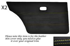 YELLOW STITCH 2X REAR DOOR CARDS SKIN COVER FITS VW GOLF MK1 JETTA CADDY MK1 5DR