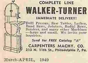 "Walker-Turner 1949 Philadelphia PA Vintage  2"" to 3"" Magazine Print Ad 0070"
