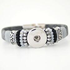 Click Button Magnet Armband Anthrazit Grau Perlen  - kompatibel 18mm Chunks