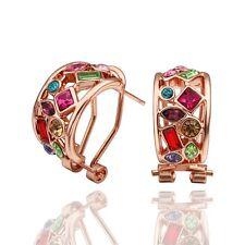 Classic 18k 18ct Rose Gold Filled GF Colourfuly CZ  Hoop Hoggies Earrings E-A573