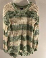 Rue 21 Women's Crochet Sweater Tunic Top Long Sleeve Green/Ivory Size Medium