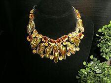 necklace green Biwa citrine Silver plated Cleopatra cluster bib adjustable