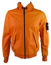 Stone Island Men's Lightweight Hooded Leather Felpa Jacket Orange (SIJK013)