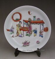 Nice Chinese Antique Famille Rose Porcelain Plate with character