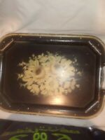 Antique Hand Painted Black and Gold Metal Tole Tray Roses 1840s-1880s Platter
