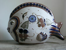 Tonala Mexico Mexican Pottery Fish Statue Large Signed Santa Floral Details