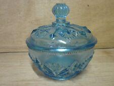 Sucrier , bonbonnière en verre moulé bleu époque XIX°