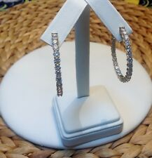 In and Out CZ Hoop Earrings-Inside Outside-Gold Rhodium EP-Hinged Snap-1.5""