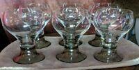 Vintage Set Of 6 Rosenthal Studio Linie Clear Bowl Smokey Base Glasses German