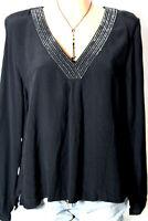 H&M Bluse Gr. 36 schwarz Langarm A-Linie Bluse/Tunika mit Strasssteinen