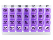 4x/Day Weekly Pill Organizer with Daily Pop-out Pill Boxes for Travel (Large)