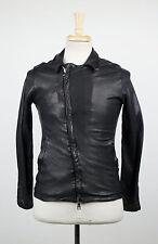 New. GIORGIO BRATO Black Leather Zip-Up Jacket Size 46/36 R $1840