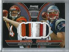 Andy Dalton-Ryan Mallett 2011 Bowman Sterling Game Used Jersey Patch #06/25