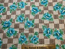 Vintage Cotton Fabric 40s50s PRETTY Turquoise Blue Roses Floral 36w 1&1/3yds