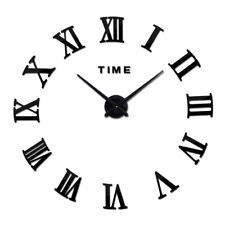 Wall Clock Large Modern Retro Vintage For Home Decor Silent 3D Style Roman Digit