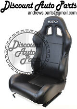 SPARCO R100 in BLACK Leather RECLINE RECLINABLE COMFORT seats JDM NEW PAIR