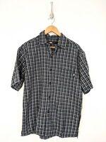 Vintage No Fear Button Up Shirt Men Medium Blue Plaid Short Sleeve