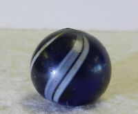 #12562m Vintage German Handmade Blue Glass Swirl Marble .71 Inches