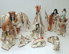 Handmade 11 Piece Horse Hair Native Nativity Pottery Set By Gina Arrighetti