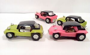 Vintage Lot Of Four 1960's 70s Dune Buggy Slot Car Made In Hong Kong LOOK & READ