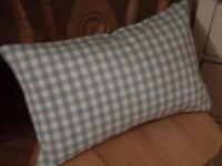 REVERSIBLE Laura Ashley Duck Egg Blue Gingham Fabric Rectangular Cushion Cover