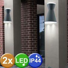 2x LED UP DOWN Spot Wand Leuchten Fassaden ALU Strahler Hof Außen Lampen Garten