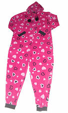 LADIES ONESIE PYJAMAS FLEECE PINK HEART LARGE 16-18