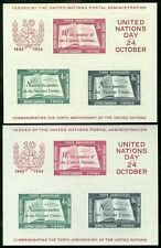 United Nations : 1955. Scott #38. 2 Fresh & Very Fine, Mint Never Hinged S/S.