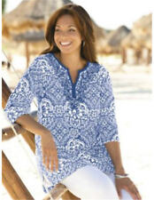 2X 20/22 NEW ULLA POPKEN MARVELOUS MEDALLIONS PRINT KNIT TUNIC CHINA BLUE $59