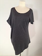 Women's Kenneth Cole Gray and Black Striped Asymmetrical Style Shirt Size XS