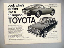 Toyota 2000 GT and Corona PRINT AD - 1967
