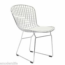 modern bertoia style dining side chair mid century modern design : white pad